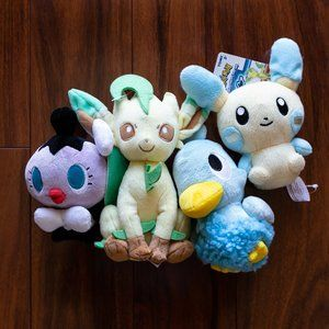 Lot of 4 Pokemon Plush Rare Leafeon Minun Ducklett